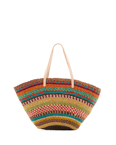 Pensacola Multicolor Woven Abacá Beach Tote Bag