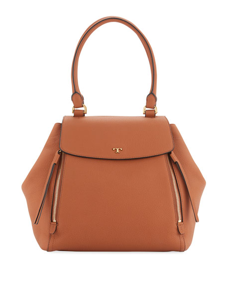 Tory Burch Half-Moon Leather Tote Bag