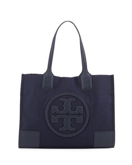 Ella Nylon & Leather Mini Tote, Navy
