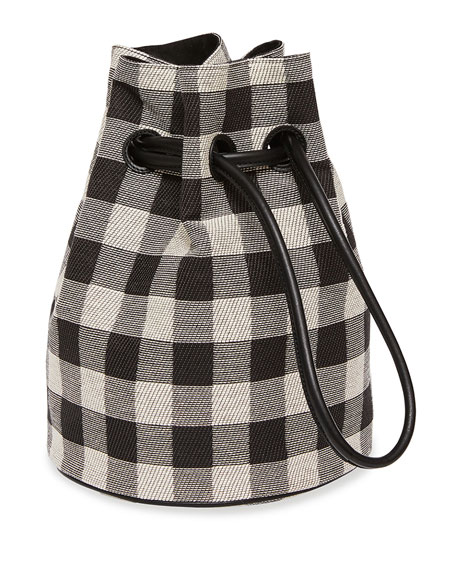 Check Canvas Drawstring Pouch Bag