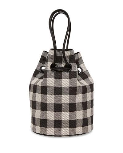 Check Canvas Drawstring Pouch Bag