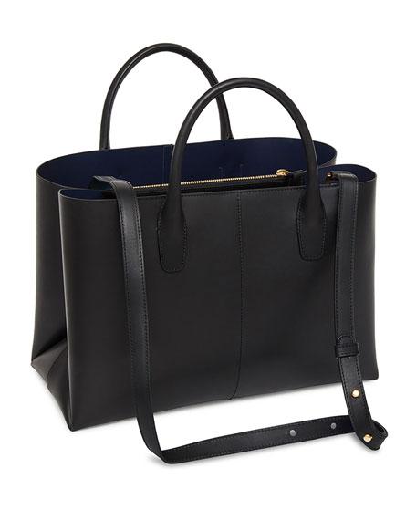 Large Folded Vegetable-Tanned Leather Shoulder Bag