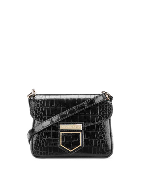 Nobile Mini Crocodile-Embossed Shoulder Bag