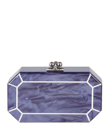 Edie Parker Fiona Faceted Clutch Bag, Blue-Violet