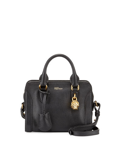 Mini Padlock Satchel Bag, Black