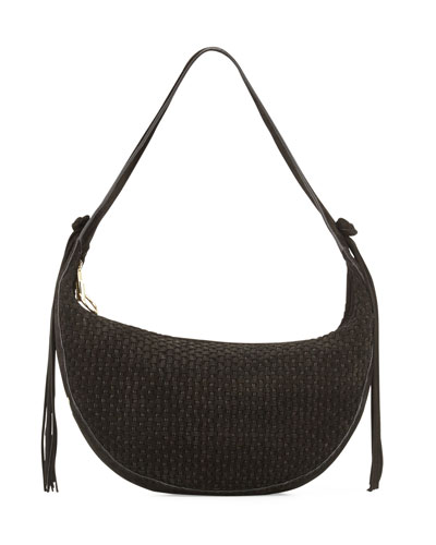 Zoe Woven Suede Hobo Bag, Black