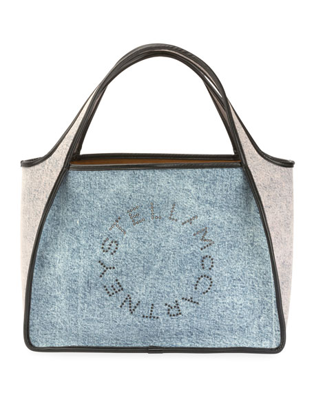 Stella Mccartney Two-Tone Denim Logo Tote Bag In Light Blue ... 6def6deb49