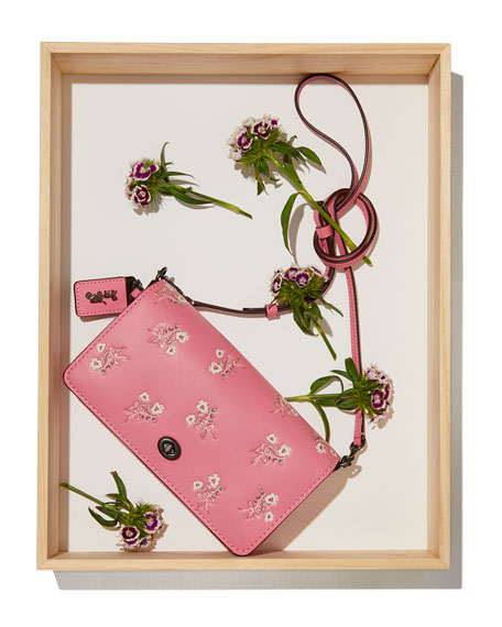 Dinky Floral Leather Crossbody Bag