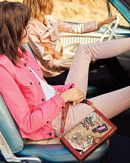 Coated Canvas Embellished Patchwork Crossbody Bag