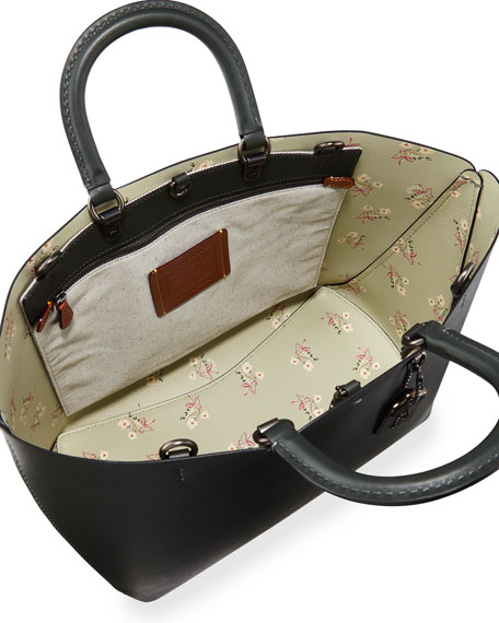 Rogue Glove Leather Tote Bag with Floral Bow Print Lining