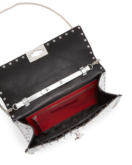 Rockstud Spike Small Flap Shoulder Bag - Silvertone Hardware