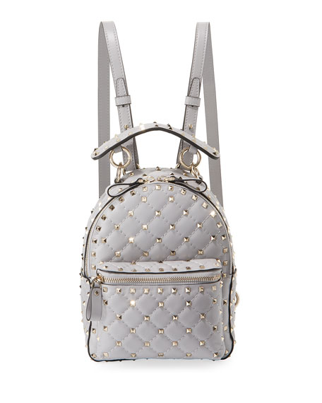 Rockstud Spike Mini Leather Backpack in Grey
