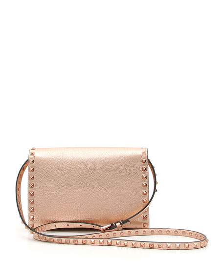 Rockstud Medium Metallic Leather Shoulder Bag