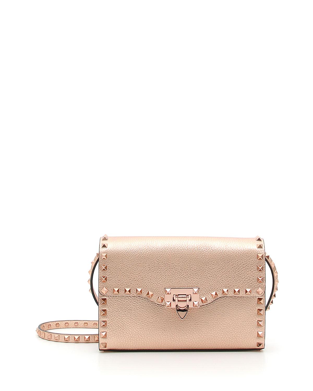 2b29f4cdc196 Valentino Garavani Rockstud Medium Metallic Leather Shoulder Bag ...