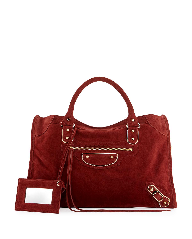 5ee3419b6407a Balenciaga Classic Metallic Edge Suede City Bag