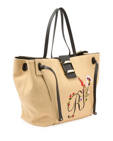 Viv Flower-Embroidered Straw Tote Bag