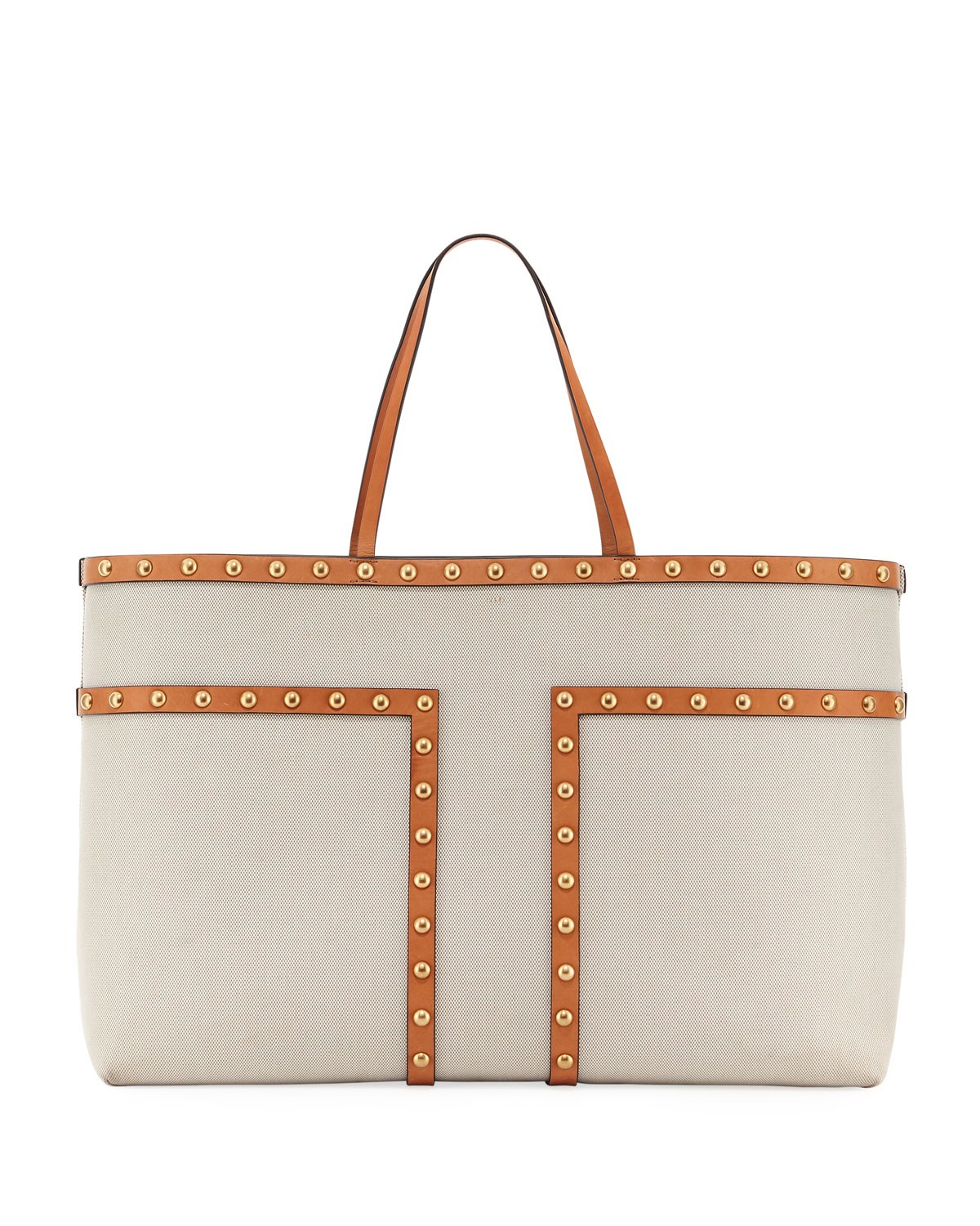 6a4e4ca688e1 Tory Burch Block-T Stud XL Canvas Tote Bag