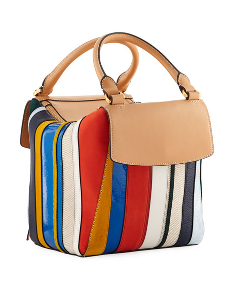 Half-Moon Balloon Stripe Satchel Bag
