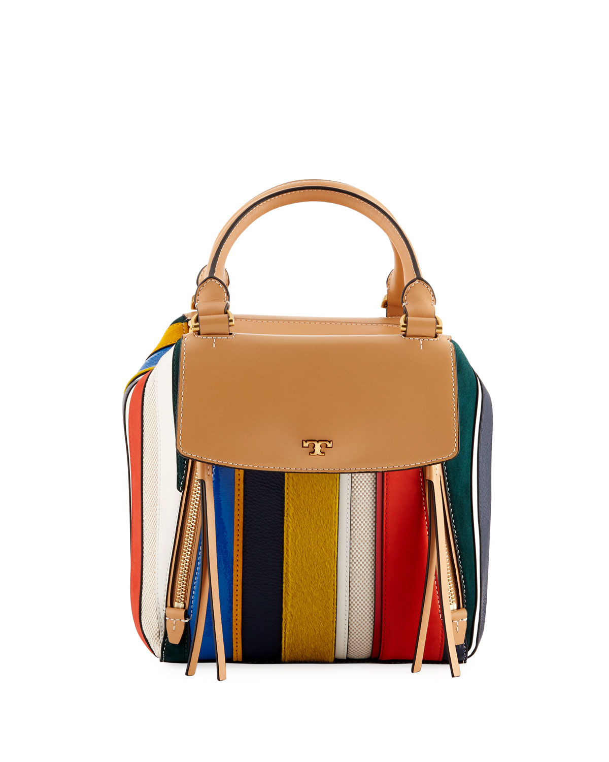 87c035f676e2d Tory Burch Half-Moon Balloon Stripe Satchel Bag