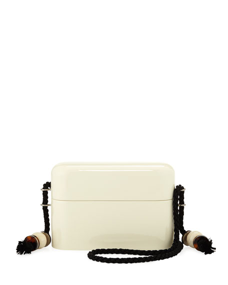 Lacquered Evening Case Crossbody Bag in Ivory