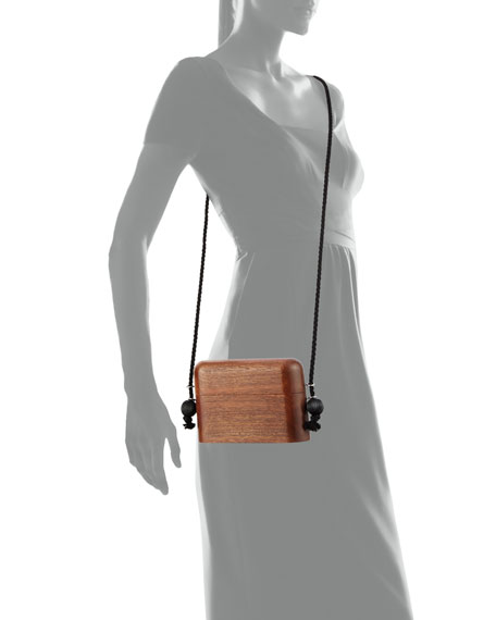 Wood Evening Case Crossbody Bag