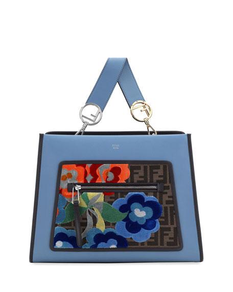 Fendi Runaway Regular Embroidered Century Tote Bag, Blue