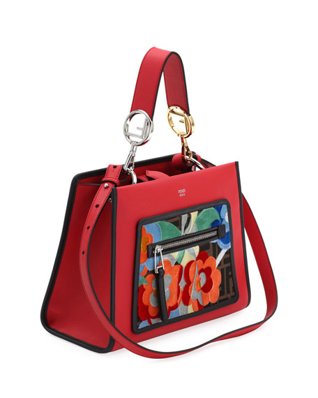 Runaway Small Embroidered Century Tote Bag, Red