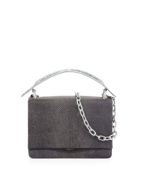 Divino Small Snakeskin Top Handle Bag