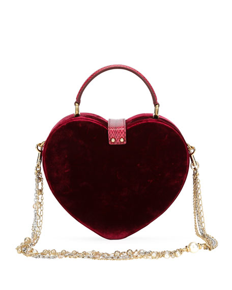 My Heart Velvet and Snakeskin Shoulder Bag