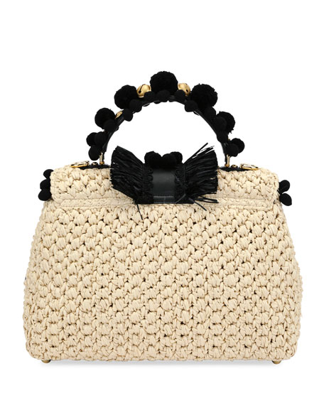 Lucia Raffia and Ayers Top Handle Bag