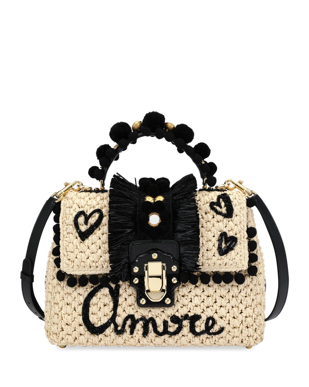 Dolce   Gabbana Lucia Raffia and Ayers Top Handle Bag  8f122dba3151f