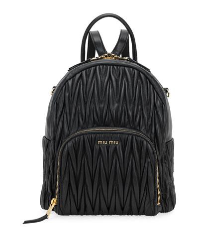 Matelassé Leather Zip Backpack