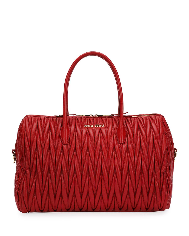 312d1d214250 Miu Miu Matelassé Leather Large Satchel Bag