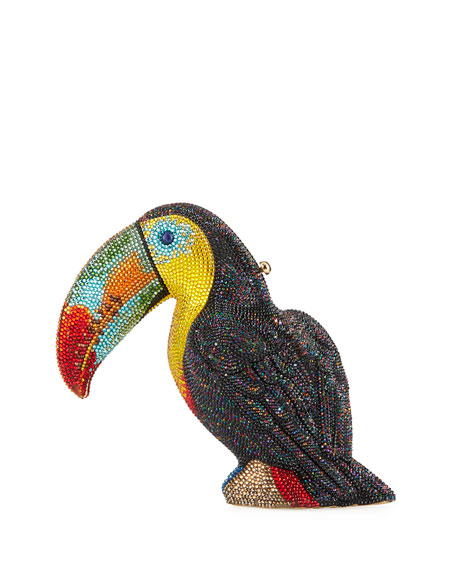 Judith Leiber Couture Toucan Toco Crystal Clutch Bag