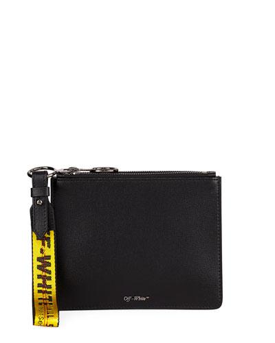 Double Flat Zip Pouch Bag, Black