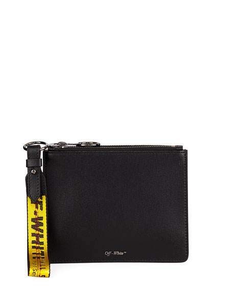 Double Flat Zip Pouch Bag, Black