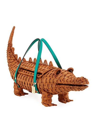 swamped 3D wicker alligator handbag