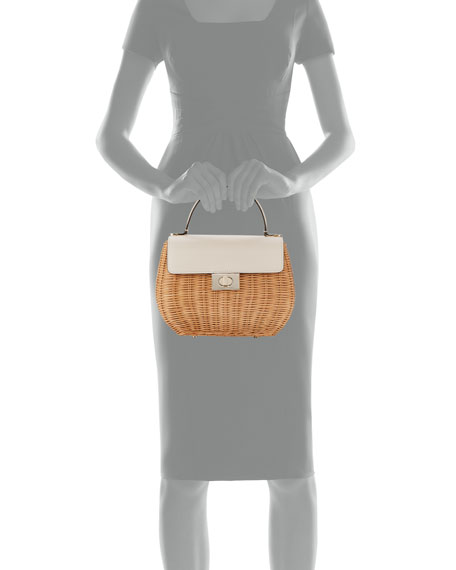 justina woven straw top handle bag