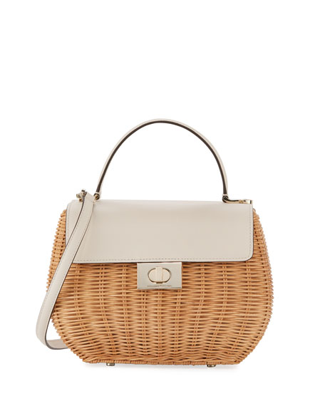 justina woven straw top handle bag