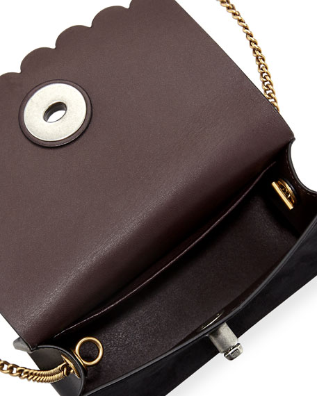 Tea Rose Leather Bowery Turn-Lock Crossbody Bag