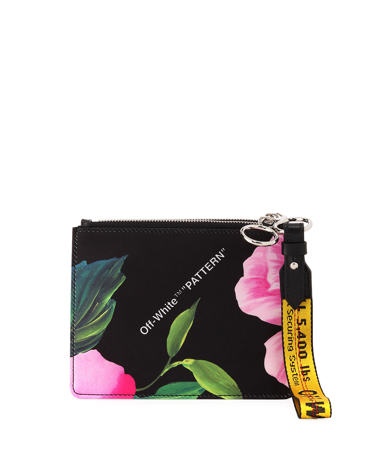 9e88f1809f7 Off-White Floral Double Flat Clutch Bag | Neiman Marcus