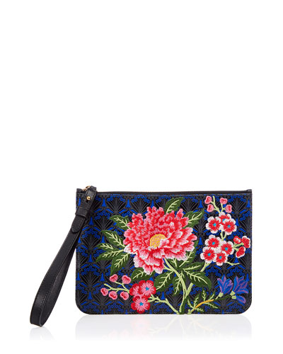 Elysian Embroidery Wristlet Bag