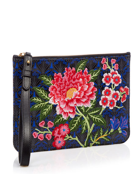 Elysian Embroidery Wristlet Bag