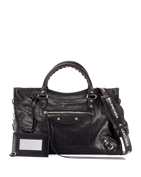 Balenciaga Classic City Small Leather Tote Bag with Logo Strap GPRpoNWgRn