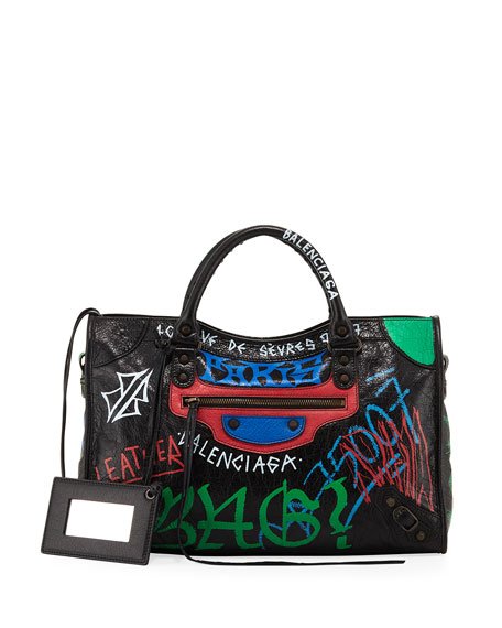 Balenciaga Classic City Graffiti-Print Satchel Bag