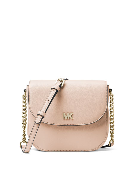 Half-Dome Leather Crossbody Bag - Golden Hardware
