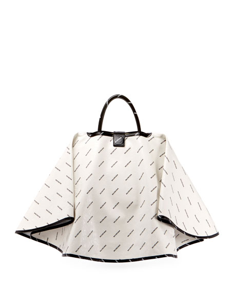Ville Logo-Print Leather Satchel Bag w/Cape