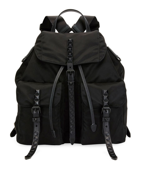 Prada Studded Bicolor Nylon Backpack