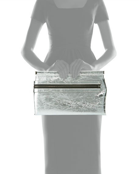 Flat Metallic Leather East-West Frame Clutch Bag