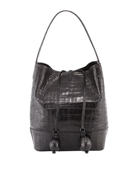 Medium Crocodile Bucket Bag w/ Rings